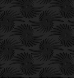 Black 3d abstract shapes with leaves vector image