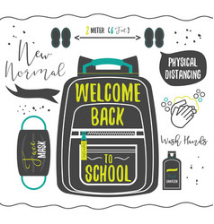 Black silhouette welcome back to school icons set vector