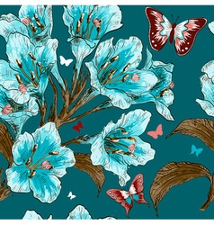Blue seamless floral background vector