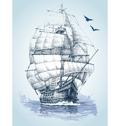 Boat on sea drawing Sailboat sketch vector image