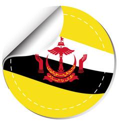 brunie flag design on round sticker vector image