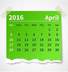 Calendar april 2016 colorful torn paper vector