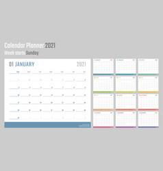 calendar for 2021 starts sunday calendar vector image