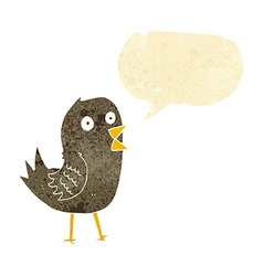 cartoon tweeting bird with speech bubble vector image