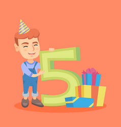 caucasian boy celebrating fifth birthday vector image