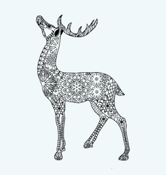 Christmas deer for adult anti stress Coloring Page vector image