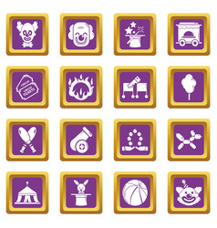 Circus icons set purple square vector