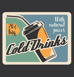 Cold drink in paper cup retro banner vector
