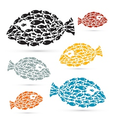Colorful Fish Shaped Abstract Fish Set vector image
