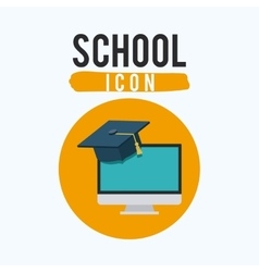 Computer and school inside circle design vector