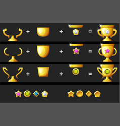 Create a gold goblet with a diamond for game vector