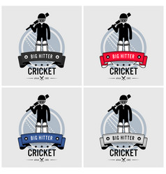 cricket club logo design artwork of a batsman vector image