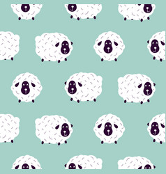 cute sheeps girlish baby seamless pattern vector image