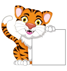 Cute tiger cartoon posing with blank sign vector image