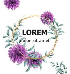 dahlia purple flowers frame card watercolor vector image