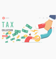 Debt or tax collection landing page template vector