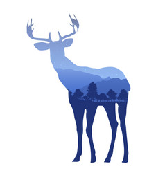 deer silhouette with double exposure effect with vector image