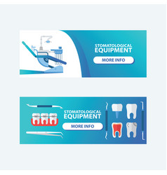 Dental stomatological equipment set of banners vector