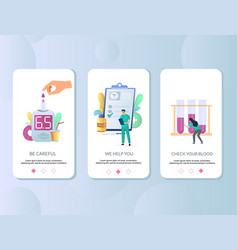 diabetes mobile app onboarding screens vector image
