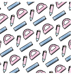 Doodle education school utensils style background vector