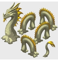Dragon snake head and body elements vector image