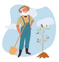elderly man with spade and tree sprout gardening vector image