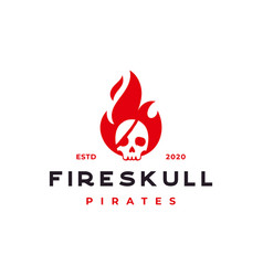 fire flame with pirates skull logo design vector image