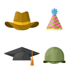 flat hats helmets and caps icon set vector image