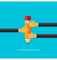 Flat pencil icon in hands Teamwork management vector image