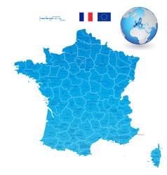 France blue administrative map set vector
