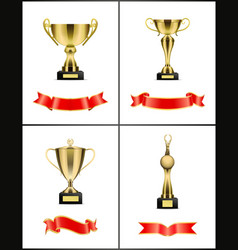 gold award with red ribbons decoration vector image