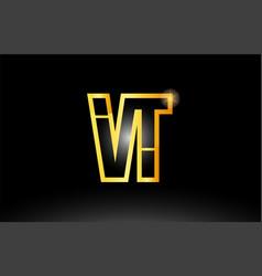 gold black alphabet letter vt v t logo vector image