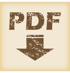 Grungy pdf download icon vector