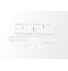 happy 2020 new year loading bar card white paper vector image