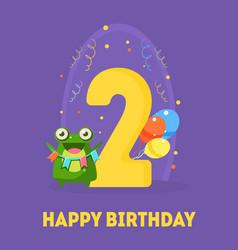 happy birthday 2 years banner template birthday vector image