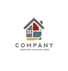 House made from colorful stone bricks logo vector