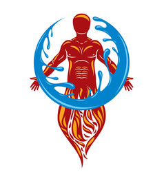 human being standing mythic ancient god vector image