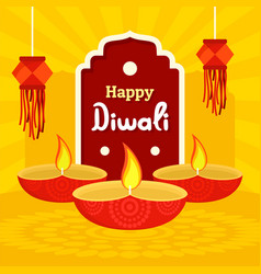 India divali festival concept background flat vector