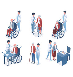 isometric 3d old people medical help care senior vector image