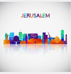 jerusalem skyline silhouette in colorful vector image