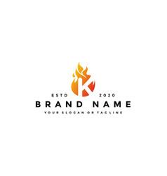 K letter logo fire design vector