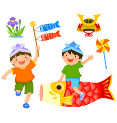 Kodomo no hi childrens day set vector