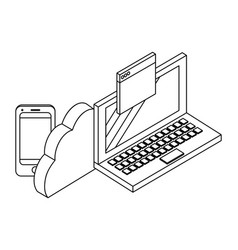 laptop and techonlogy elements black and white vector image