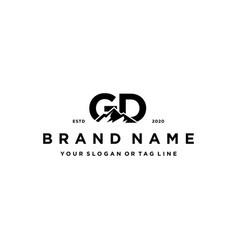 Letter gd mountain logo design vector