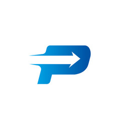 Letter p with arrow logo design template vector