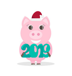 Lovely for the new year 2019 with a pig vector