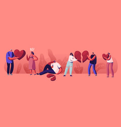 lovers in end loving relations concept young vector image