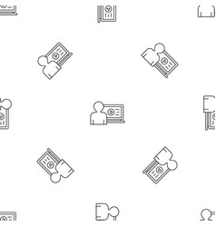man watch web video pattern seamless vector image