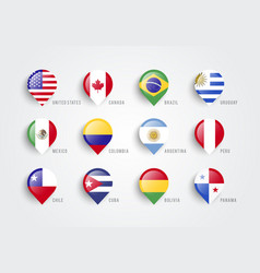 map pointers with flag america vector image