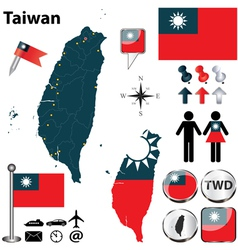 map taiwan vector image